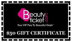 Beautyticket.com gift certificate