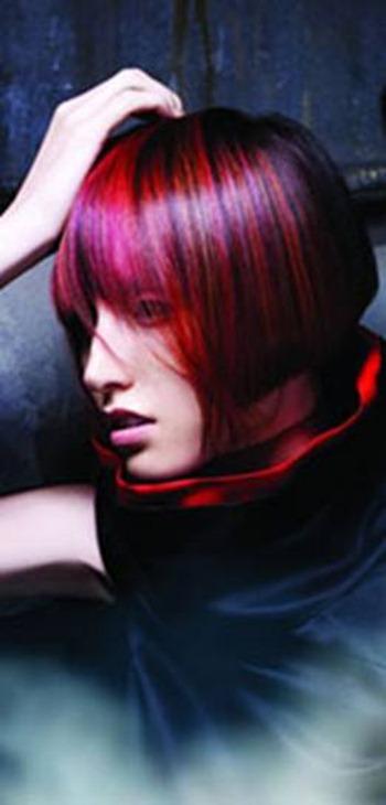 Creative red and purple hair
