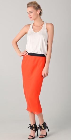 Color block tangerine maxi dress