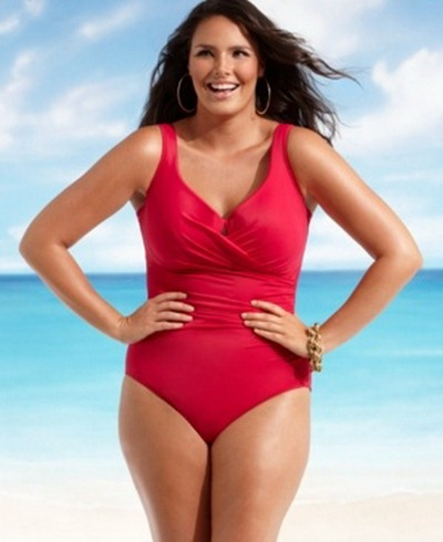 Plus size swimsuit red