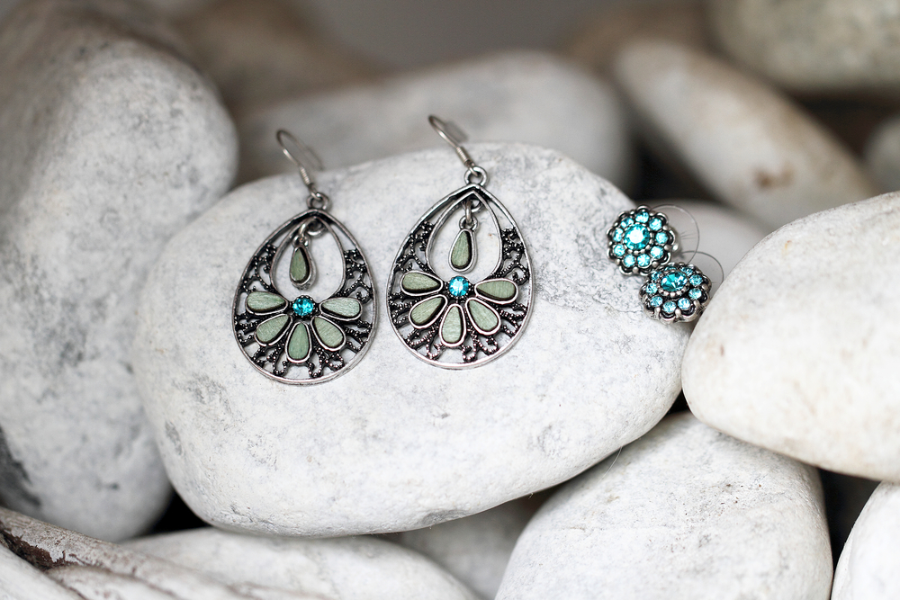 Earrings with light blue stones