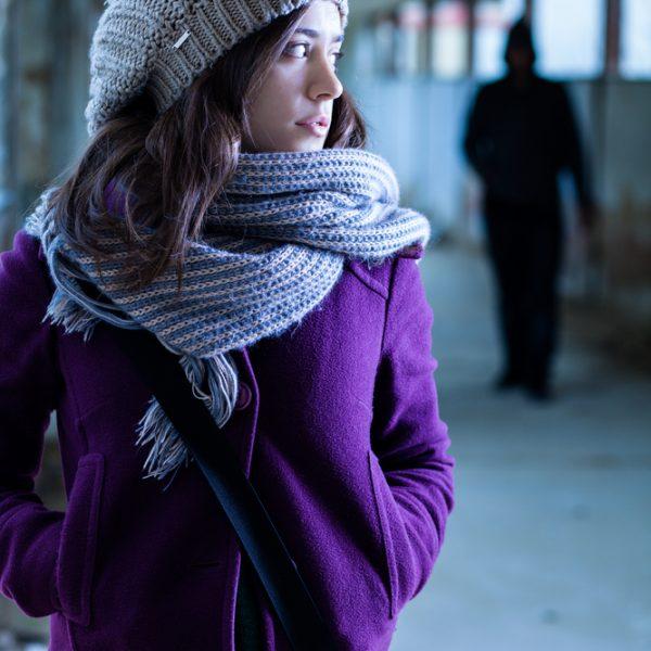 Trendy purple wool coat