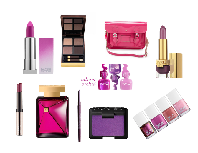 Radiant orchid makeup and fashion