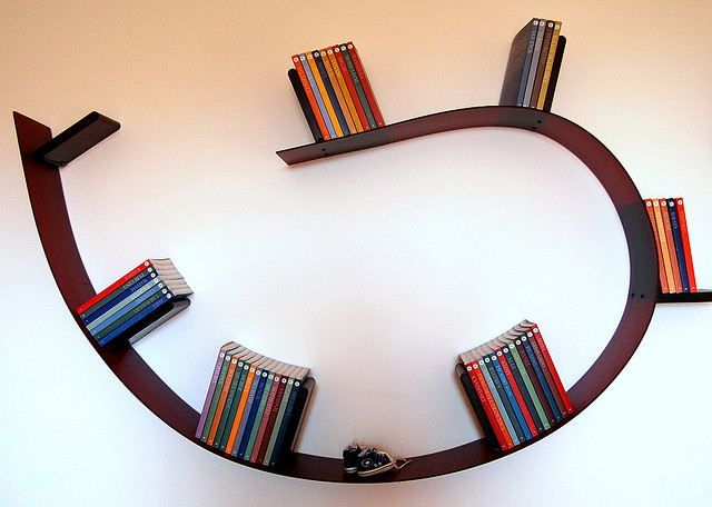 unique book shelf