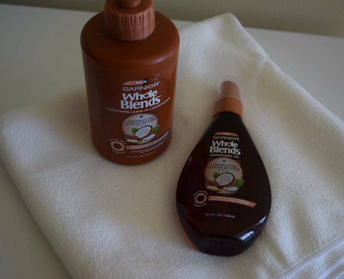 Garnier products and hair towel